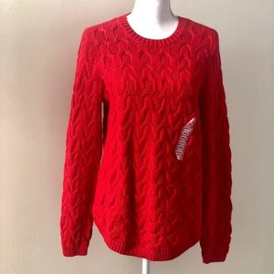 Jeanne Pierre Womens Fisherman Cable Knit Sweater